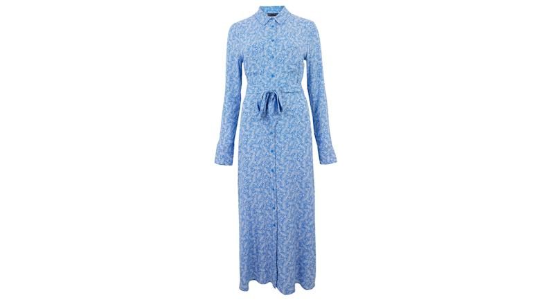Leaf Print Belted Midi Shirt Dress
