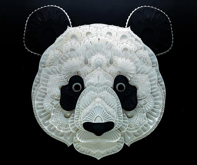 <p>Intricate paper cut out of a panda. (Photo: Patrick Cabral/Caters News </p>