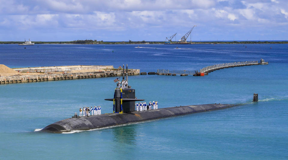 In this photo provided by U.S. Navy, the Los Angeles-class fast attack submarine USS Oklahoma City (SSN 723) returns to U.S. Naval Base in Guam, Aug. 19, 2021. Australia's Prime Minister Scott Morrison on Friday, Sept. 17, rejected Chinese criticism of Australia's new nuclear submarine alliance with the United States and said he doesn't mind that President Joe Biden might have forgotten his name. (Mass Communication Specialist 3rd Class Naomi Johnson/U.S. Navy via AP)