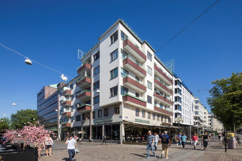 A view of a building where the second floor coffee shop will be converted into apartments in Stockholm