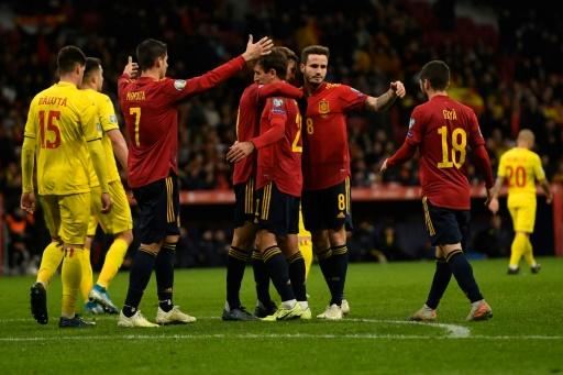Spain crushed Romania 5-0 in Madrid in what could have been Robert Moreno's final game as coach