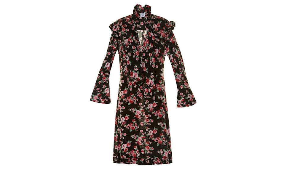 """<p>Vetements ruffle-trimmed floral-print dress, $1,613, <a href=""""http://www.matchesfashion.com/us/products/Vetements-Ruffle-trimmed-floral-print-dress-1046745#"""" rel=""""nofollow noopener"""" target=""""_blank"""" data-ylk=""""slk:Matches fashion"""" class=""""link rapid-noclick-resp"""">Matches fashion</a></p>"""