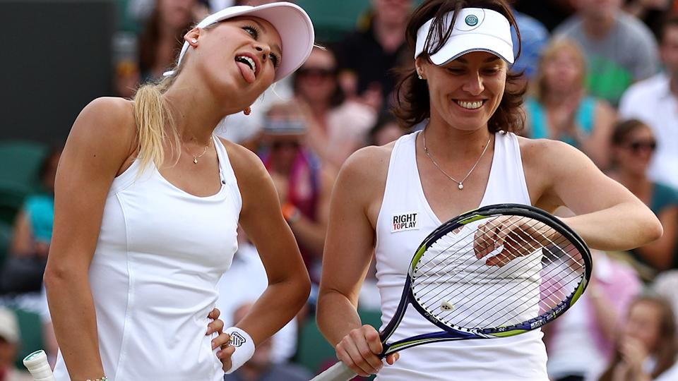 Anna Kournikova and Martina Hingis, pictured here at Wimbledon in 2010.