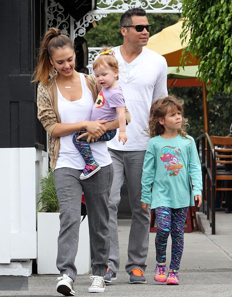 Just another (extremely attractive) family out on a sunny afternoon in Los Angeles! Jessica Alba and husband Cash Warren spent some quality time with their daughters, Haven, who turns 2 next month, and 5-year-old Honor on Sunday. (7/21/2013)