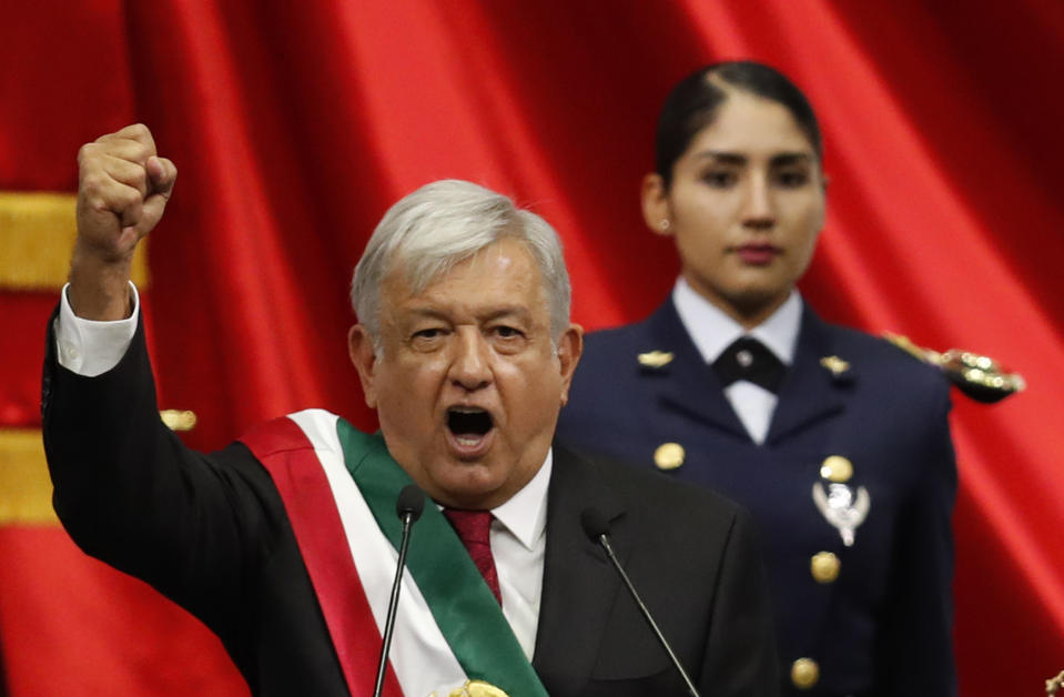 Mexico's new President Andres Manuel Lopez Obrador speaks during his inaugural ceremony at the National Congress in Mexico City, Saturday, Dec. 1, 2018. (AP Photo/Eduardo Verdugo)