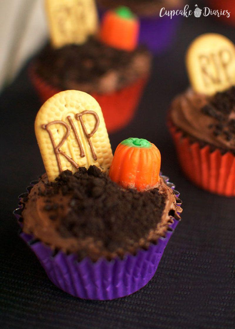 """<p>Turn your dessert table into a haunted graveyard with these cupcakes. How spooky is that?</p><p><strong>Get the recipe at <a href=""""https://www.cupcakediariesblog.com/2014/09/graveyard-cupcakes-30-days-halloween-day-1.html"""" rel=""""nofollow noopener"""" target=""""_blank"""" data-ylk=""""slk:Cupcake Diaries"""" class=""""link rapid-noclick-resp"""">Cupcake Diaries</a>.</strong></p><p><strong><strong><a class=""""link rapid-noclick-resp"""" href=""""https://www.amazon.com/Wilton-Non-Stick-Muffin-Cupcake-Baking/dp/B00KIFBI1C/?tag=syn-yahoo-20&ascsubtag=%5Bartid%7C10050.g.1366%5Bsrc%7Cyahoo-us"""" rel=""""nofollow noopener"""" target=""""_blank"""" data-ylk=""""slk:SHOP CUPCAKE TINS"""">SHOP CUPCAKE TINS</a></strong><br></strong></p>"""