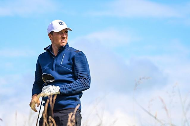 """<div class=""""caption""""> Jordan Spieth watches his tee shot on the 12th hole during the first round of the 2019 Open Championship at Royal Portrush. </div> <cite class=""""credit"""">Keyur Khamar/PGA Tour</cite>"""
