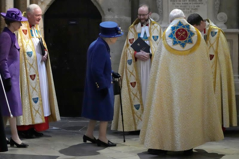 Britain's Queen Elizabeth attends a Service of Thanksgiving to mark the Centenary of the Royal British Legion at Westminster Abbey