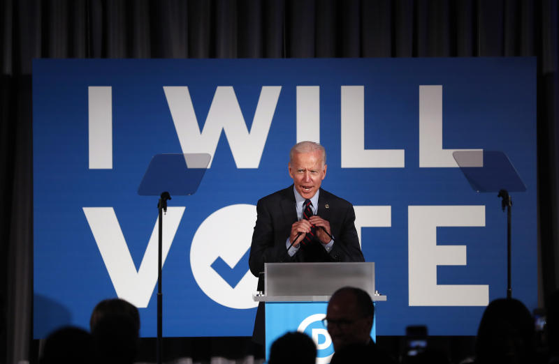 "FILE - In this June 6, 2019, file photo, Democratic presidential candidate former Vice President Joe Biden speaks during the ""I Will Vote"" fundraising gala in Atlanta. Biden shifted to oppose longstanding restrictions on federal funding of abortion during his remarks. (AP Photo/John Bazemore, File)"