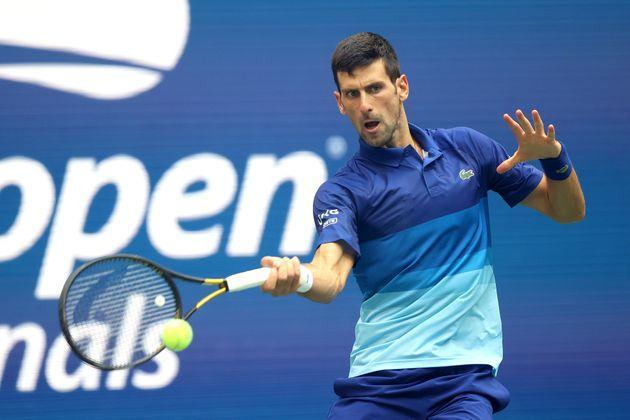 NEW YORK, NEW YORK - SEPTEMBER 12: Novak Djokovic of Serbia returns the ball against Daniil Medvedev of Russia in the first set of the Men's Singles final match on Day Fourteen of the 2021 US Open at the USTA Billie Jean King National Tennis Center on September 12, 2021 in the Flushing neighborhood of the Queens borough of New York City.  (Photo by Matthew Stockman/Getty Images) (Photo: Matthew Stockman via Getty Images)