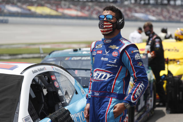 Bubba Wallace before Monday's race at Talladega. (AP Photo/John Bazemore)
