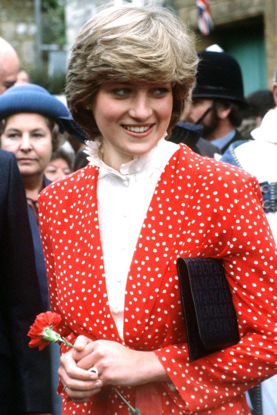 <p>Crowds gathered to catch a glimpse of the future princess during a visit to Tetbury on May 22, 1981. </p>