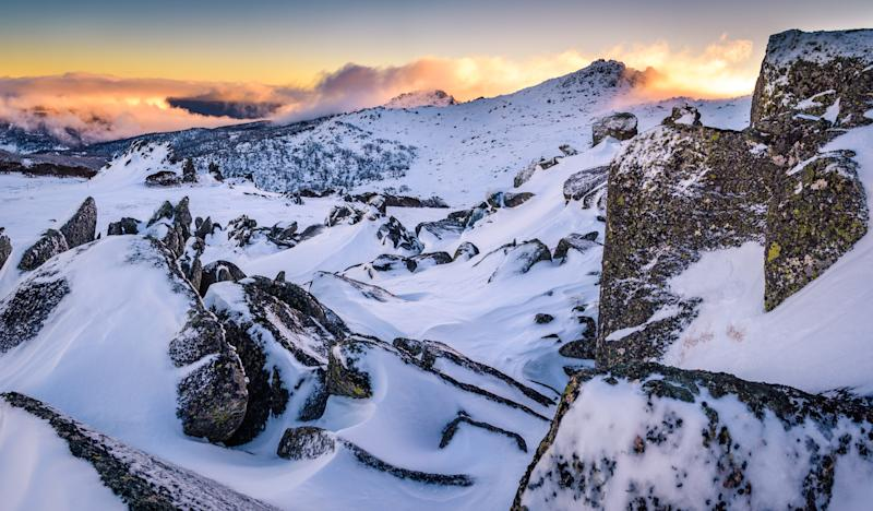 Winter sunset at the highest Australian Mountain, Kosciuszko National Park, New South Wales