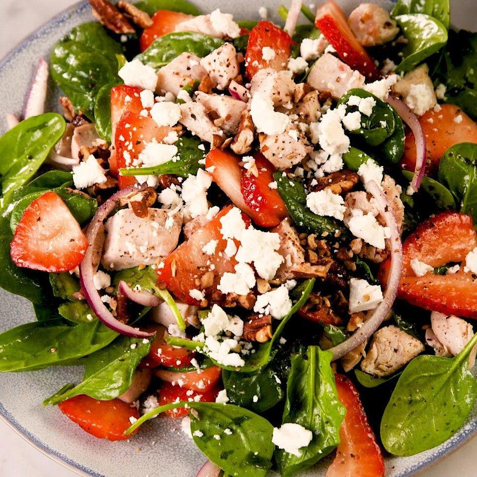 """<p>Even so-called <a href=""""https://www.delish.com/uk/cooking/a29469948/how-to-cook-spinach/"""" rel=""""nofollow noopener"""" target=""""_blank"""" data-ylk=""""slk:spinach"""" class=""""link rapid-noclick-resp"""">spinach</a> haters will love this recipe. The combination of sweet strawberries, herb chicken, creamy goat cheese, and spicy red onions make you forget the fact that you're eating <a href=""""https://www.delish.com/uk/cooking/recipes/a31952820/prawn-salad/"""" rel=""""nofollow noopener"""" target=""""_blank"""" data-ylk=""""slk:salad"""" class=""""link rapid-noclick-resp"""">salad</a>. It's a miracle! </p><p>Get the <a href=""""https://www.delish.com/uk/cooking/recipes/a32484972/easy-strawberry-spinach-salad-recipe/"""" rel=""""nofollow noopener"""" target=""""_blank"""" data-ylk=""""slk:Strawberry Spinach Salad"""" class=""""link rapid-noclick-resp"""">Strawberry Spinach Salad</a> recipe.</p>"""
