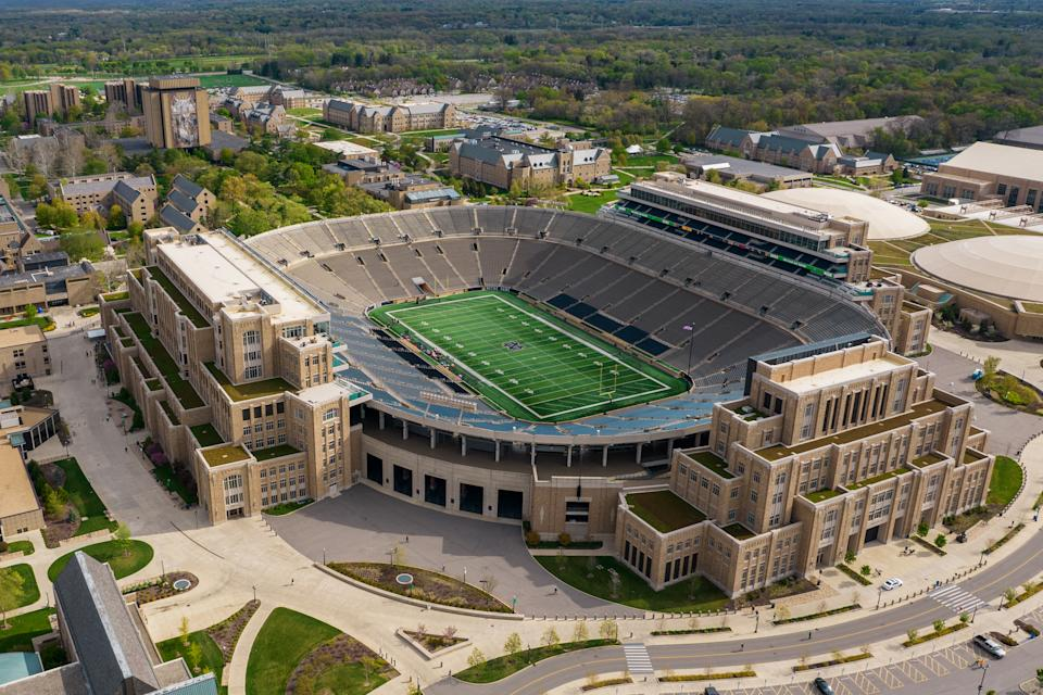 SOUTH BEND, INDIANA - MAY 01: Aerial view of Notre Dame Stadium from a drone prior to the Blue-Gold Spring Game at Notre Dame Stadium on May 01, 2021 in South Bend, Indiana. (Photo by Quinn Harris/Getty Images)
