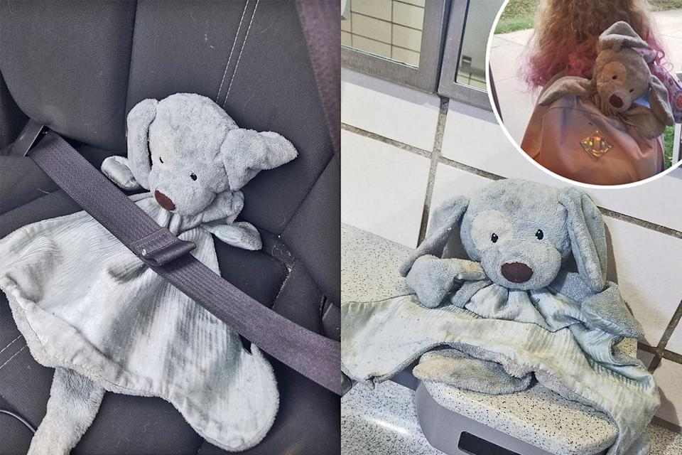A mom took to Facebook to try to find the owner of a stuffed dog left at a highway rest-stop women's room. (Photo: Facebook/Katie Hoeppner)