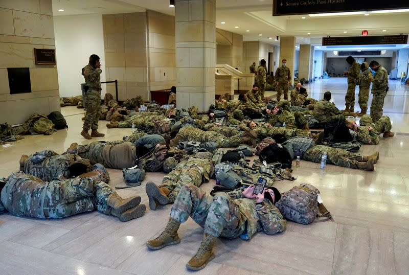 National Guard members sleep in the Capitol Vistor's Center in Washington