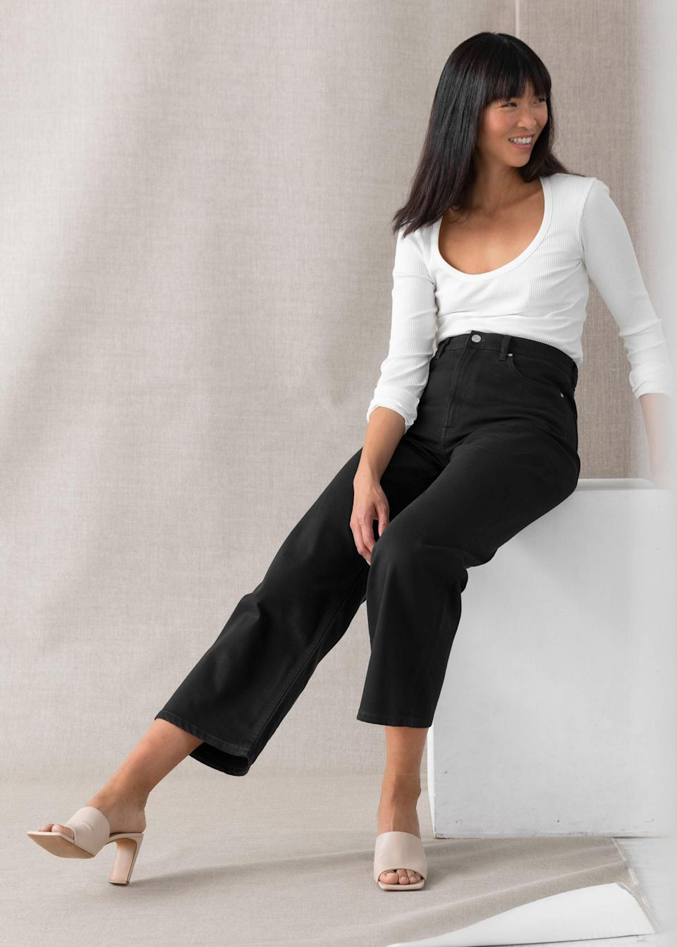 """<br><br><strong>& Other Stories</strong> Treasure Cut Cropped Jeans, $, available at <a href=""""https://go.skimresources.com/?id=30283X879131&url=https%3A%2F%2Fwww.stories.com%2Fen_usd%2Fclothing%2Fjeans%2Fstraight%2Fproduct.treasure-cut-cropped-jeans-black.0905737003.html"""" rel=""""nofollow noopener"""" target=""""_blank"""" data-ylk=""""slk:& Other Stories"""" class=""""link rapid-noclick-resp"""">& Other Stories</a>"""