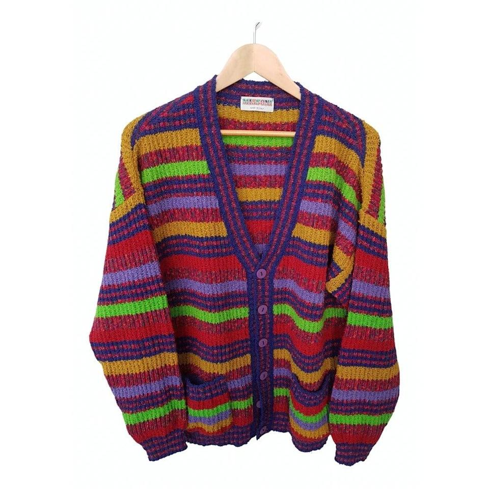 "<br><br><strong>Missoni</strong> Wool Cardigan, $, available at <a href=""https://www.vestiairecollective.com/women-clothing/knitwear/missoni/multicolour-wool-missoni-knitwear-11681735.shtml"" rel=""nofollow noopener"" target=""_blank"" data-ylk=""slk:Vestiaire Collective"" class=""link rapid-noclick-resp"">Vestiaire Collective</a>"