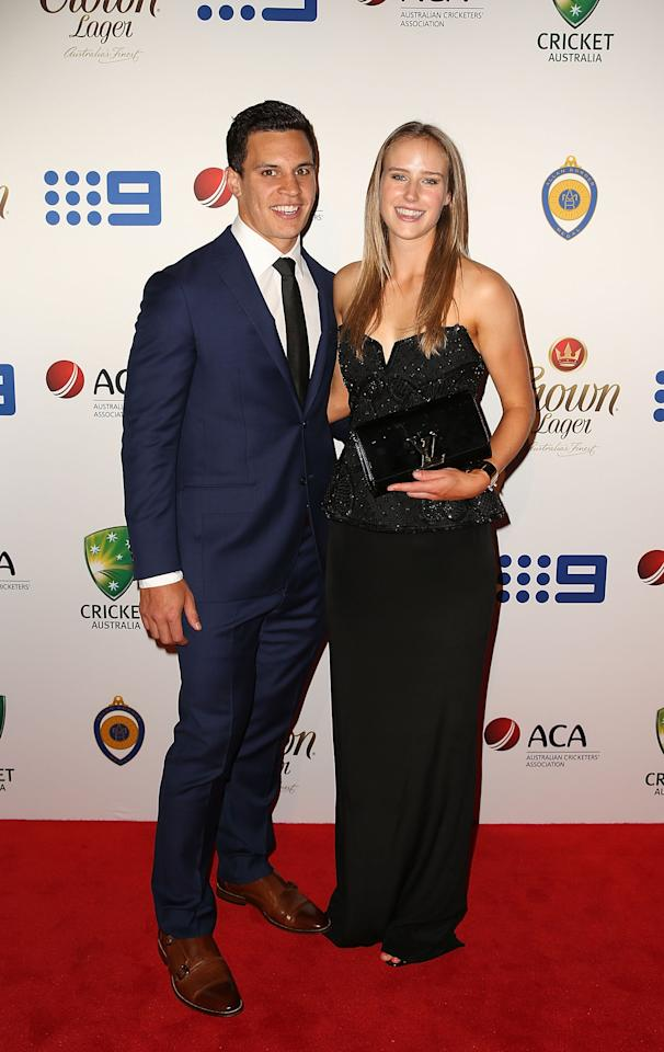 SYDNEY, AUSTRALIA - JANUARY 20:  Matt Toomua and Ellyse Perry arrive at the 2014 Allan Border Medal at Doltone House on January 20, 2014 in Sydney, Australia.  (Photo by Mark Metcalfe/Getty Images)
