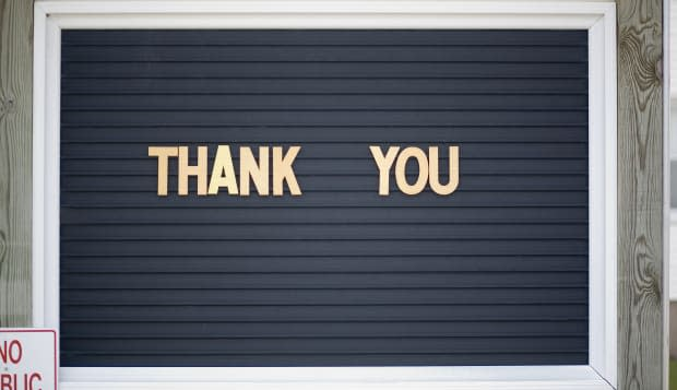 'Thank you' sign