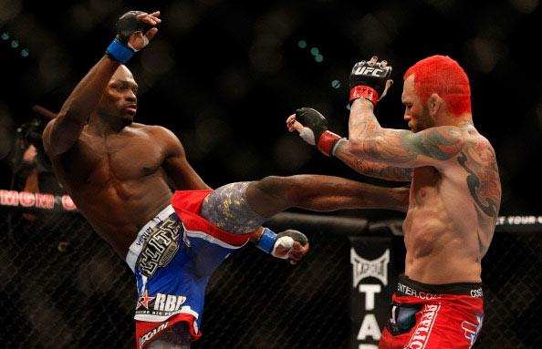 (L-R) Derek Brunson versus Chris Leben during their middleweight fight at UFC 155 on December 29, 2012 at MGM Grand Garden Arena in Las Vegas, Nevada. (Photo by Josh Hedges/Zuffa LLC/Zuffa LLC via Getty Images)