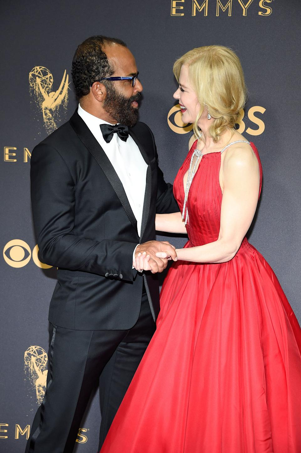 LOS ANGELES, CA - SEPTEMBER 17:  Actors Jeffrey Wright (L) and Nicole Kidman attend the 69th Annual Primetime Emmy Awards at Microsoft Theater on September 17, 2017 in Los Angeles, California.  (Photo by Kevin Mazur/WireImage)
