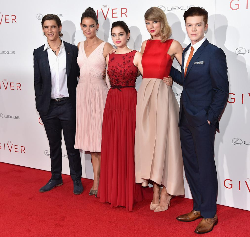 """<p>Brenton Thwaites, Katie Holmes, Odeya Rush, Taylor Swift and Cameron Monaghan</p><p>NEW YORK, NY - AUGUST 11: (L-R) Actors Brenton Thwaites, Katie Holmes, Odeya Rush, Taylor Swift and Cameron Monaghan attend """"The Giver"""" premiere at Ziegfeld Theater on August 11, 2014 in New York City.</p>"""