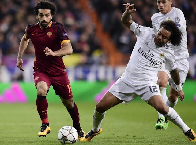Mohamed Salah toubled Marcelo when they met in Real Madrid's win over Roma in 2016 (AFP Photo/JAVIER SORIANO)