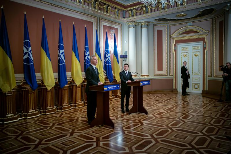 NATO Secretary-General held a meeting of the NATO-Ukraine Commission with President of Ukraine Volodymyr Zelensky on October 31, in Kiev. (Photo: Agron Dragaj for Yahoo News)