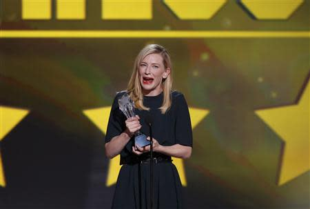 "Actress Cate Blanchett accepts the award for best actress for her role in ""Blue Jasmine"" at the 19th annual Critics' Choice Movie Awards in Santa Monica, California January 16, 2014. REUTERS/Mario Anzuoni"