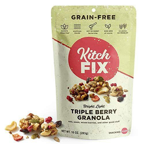 """<p><strong>Kitchfix</strong></p><p>amazon.com</p><p><a href=""""https://www.amazon.com/dp/B01H14PSSQ?tag=syn-yahoo-20&ascsubtag=%5Bartid%7C1782.g.4497%5Bsrc%7Cyahoo-us"""" rel=""""nofollow noopener"""" target=""""_blank"""" data-ylk=""""slk:BUY NOW"""" class=""""link rapid-noclick-resp"""">BUY NOW</a></p><p>Best news ever: This granola is grain-free and paleo!</p>"""