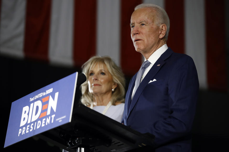 Former Vice President Joe Biden, accompanied by his wife Jill, speaks to members of the press at the National Constitution Center in Philadelphia, Tuesday, March 10, 2020. (Matt Rourke/AP)