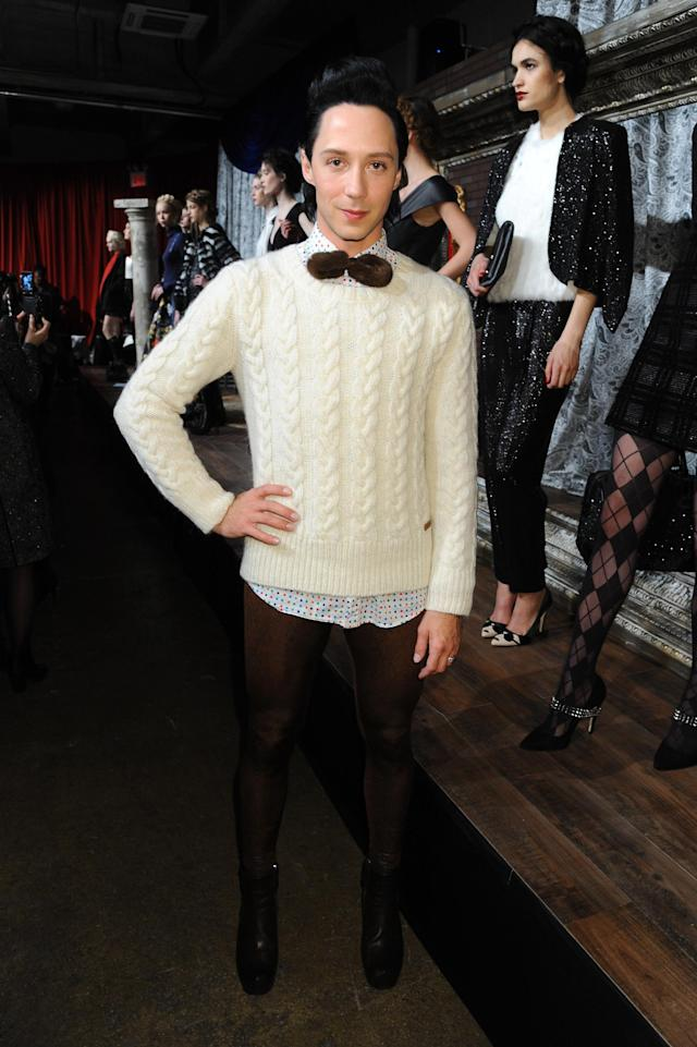 NEW YORK, NY - FEBRUARY 11: Johnny Weir poses at the Alice + Olivia By Stacey Bendet Fall 2013 fashion show presentation during Mercedes-Benz Fashion Week at Highline Stages on February 11, 2013 in New York City. (Photo by Jennifer Graylock/Getty Images)