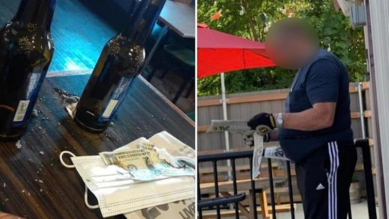 A bar with destroyed US cash (left) and the man who allegedly started a fire (right)