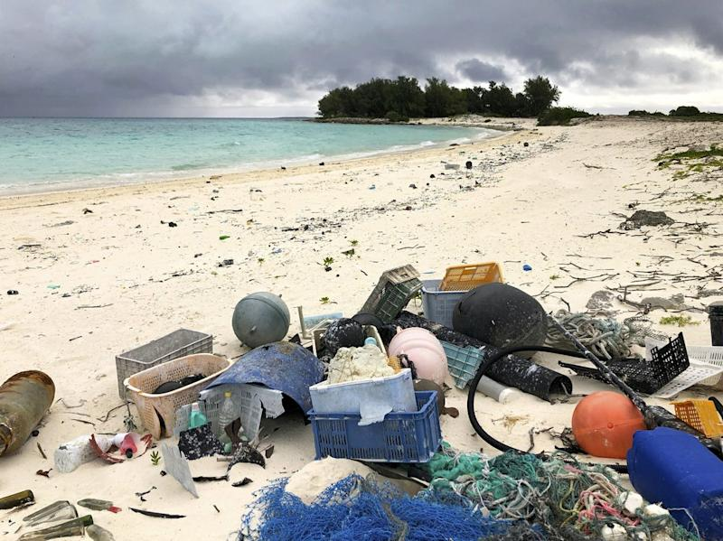 Pictured is Midway Atoll, which sits at the centre of the Great Pacific Garbage Patch, a vast area of floating plastic collected by circulating oceanic currents. Source: AP/Caleb Jones