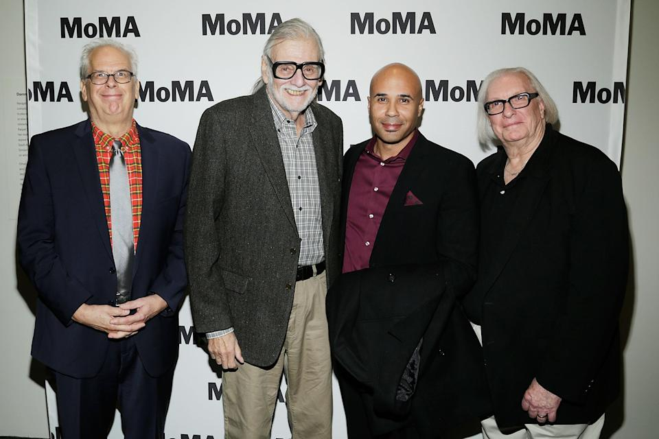 NEW YORK, NY – NOVEMBER 05: Gary Streiner, Director George A. Romero, Chris Roe and Russ Streiner attend the Night of the Living Dead World Premiere of Restored Print during the To Save and Project: The 14th MOMA International Festival of Film Preservation at MOMA on November 5, 2016 in New York City. (Photo by Lars Niki/Getty Images for Museum of Modern Art, Department of Film)