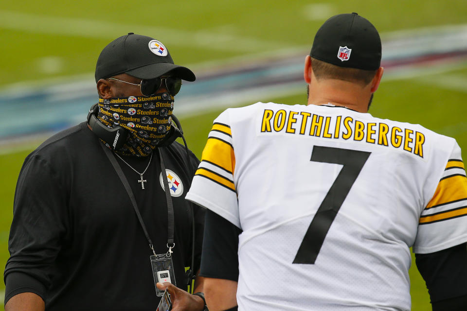 Steelers coach Mike Tomlin still has faith in Ben Roethlisberger. (Photo by Frederick Breedon/Getty Images)