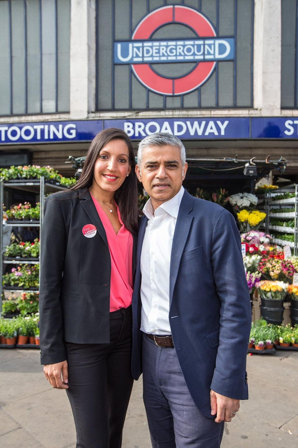 Mayor of London Sadiq Khan with Dr Rosena Allin-Khan Labour's candidate for the Tooting by-election outside Tooting Broadway tube station Alex Lentati/Evening Standard