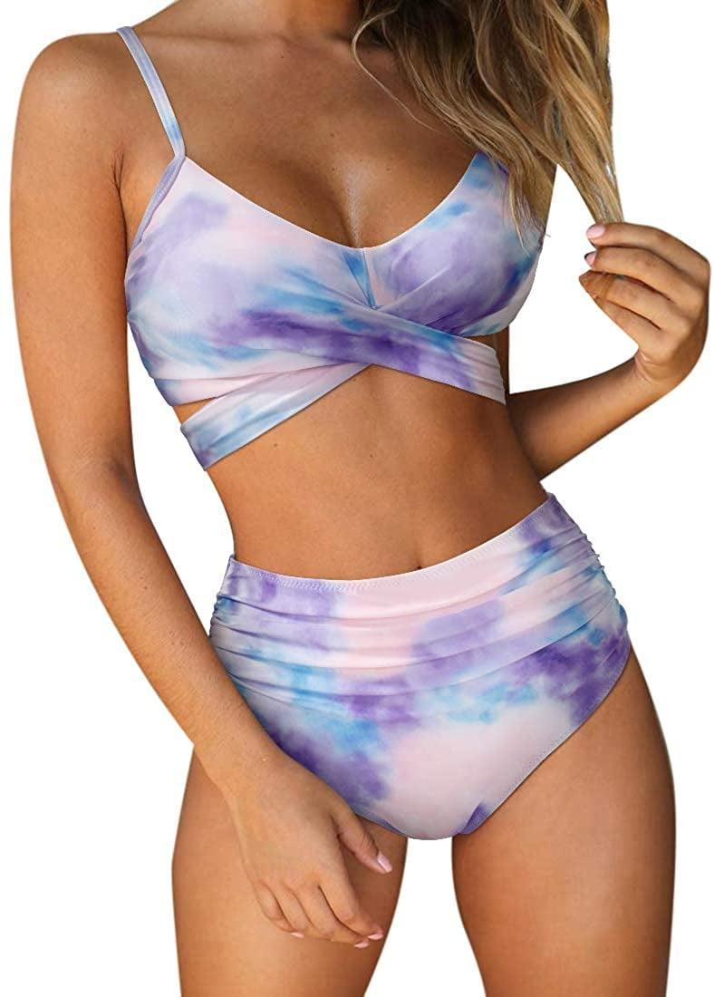 <p>Tie die isn't going anywhere and you need this flattering <span>RUUHEE Women Criss Cross High Waisted String 2 Piece</span> ($13).</p>