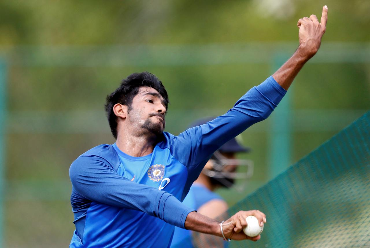Cricket - Sri Lanka v India - India Team Practice Session - Dambulla, Sri Lanka - August 18, 2017 - India's Jasprit Bumrah bowls. REUTERS/Dinuka Liyanawatte     TPX IMAGES OF THE DAY