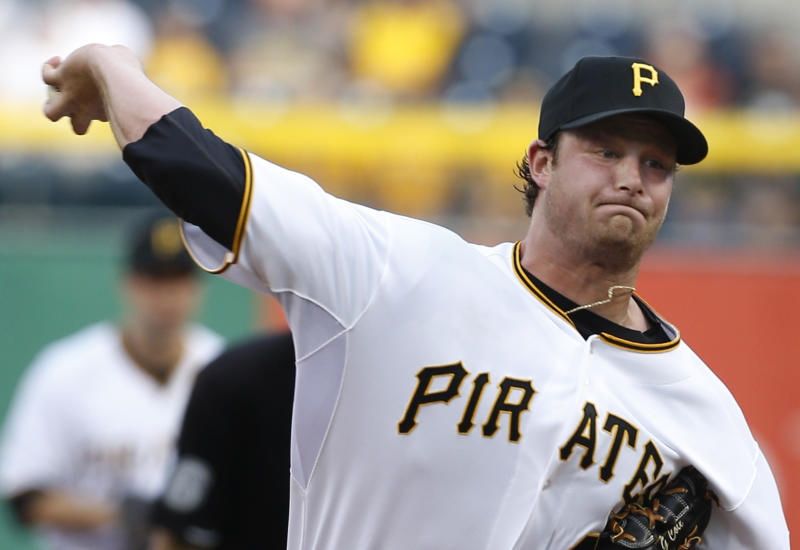 Pittsburgh Pirates' Gerrit Cole throws against the San Francisco Giants in the first  inning of the baseball game on Tuesday, June 11, 2013, in Pittsburgh. It was Cole's major league debut. (AP Photo/Keith Srakocic)