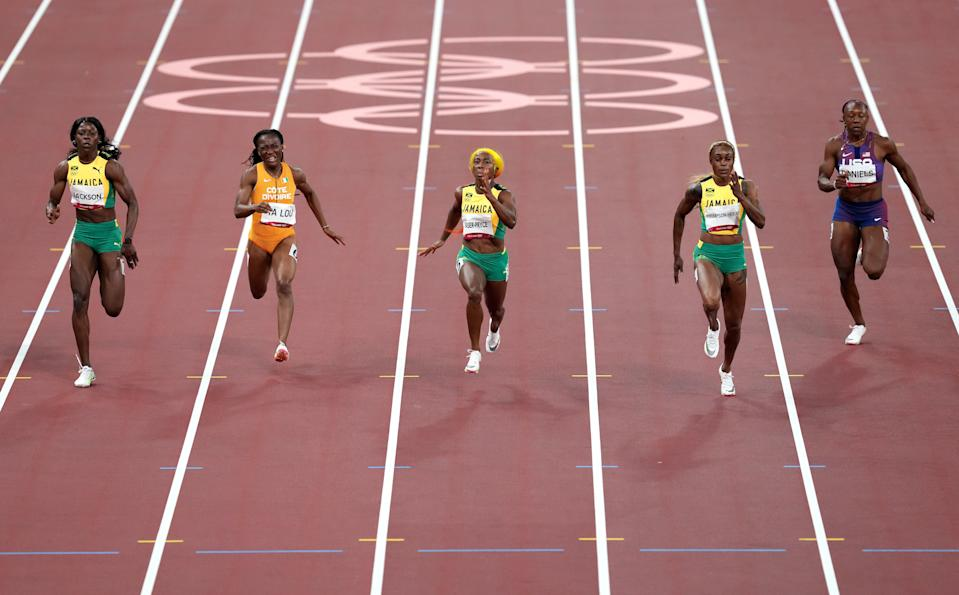 Jamaica completed a clean sweep in the women's 100m (Martin Rickett/PA) (PA Wire)