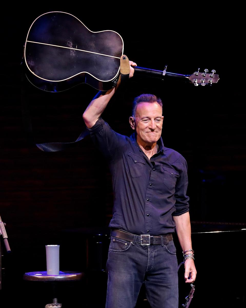 """Bruce Springsteen during reopening night of """"Springsteen on Broadway,"""" at New York's St. James Theatre on June 26th - Credit: Taylor Hill/Getty Images"""