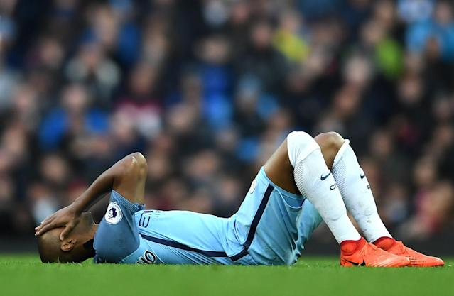 <p>Fernandinho is left dejected after missing a great chance for City </p>