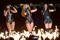 Singers Kelly Rowland, Beyonce and Michelle Williams of Destiny's Child perform during the Pepsi Super Bowl XLVII Halftime Show at Mercedes-Benz Superdome on February 3, 2013 in New Orleans, Louisiana. (Photo by Kevin Mazur/WireImage)