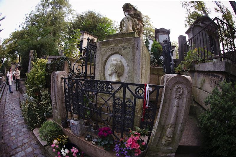 The tombstone of Polish-French composer and pianist Frederic Chopin at the Pere Lachaise cemetery in Paris