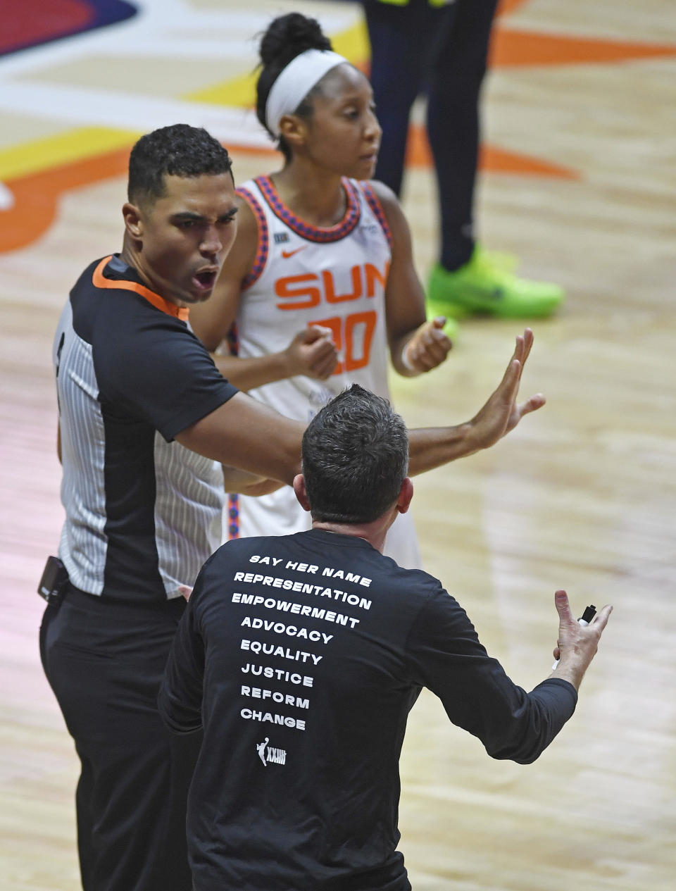 Connecticut Sun head coach Curt Miller argues with official John Conley during play against the Dallas Wing during a WNBA basketball game Tuesday, June 22, 2021 at Mohegan Sun Arena in Uncasville, Conn. (Sean D. Elliot/The Day via AP)