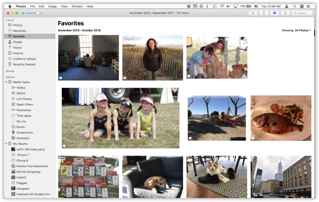 The redesigned Photos has a cleaner, well organized sidebar at left.