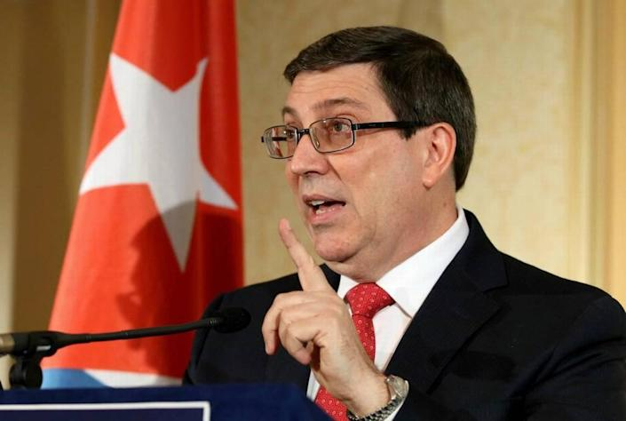 Cuban Foreign Minister Bruno Rodriguez addresses the media during a news conference in 2017.